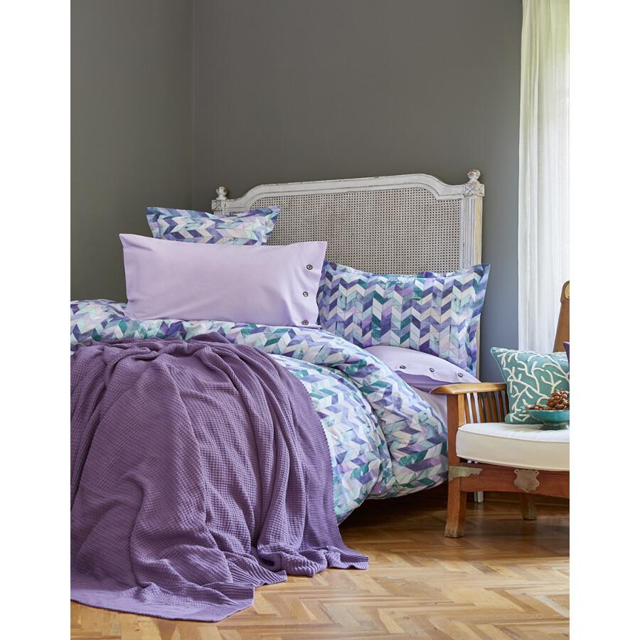 Karaca Home Melange Purple Cotton Double Duvet Cover Set