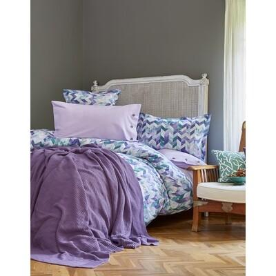 ​Karaca Home Melange Purple Cotton Double Duvet Cover Set