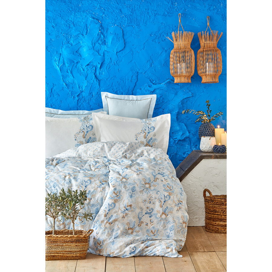 Karaca Home Charlina Blue Cotton Double 6 Piece Duvet Cover Set