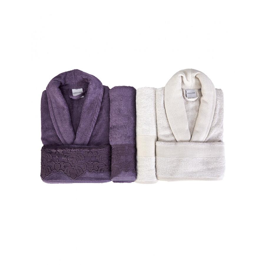 Karaca Home Carissa Plum Mink Lacy Bamboo Family Set - bornoz - bathrobe set