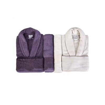 Karaca Home Carissa Plum Mink Lacy Bamboo Family Set - bornoz - bathrobe set