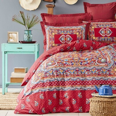 Karaca Home Mihver Pano Red Cotton Double Duvet Cover Set