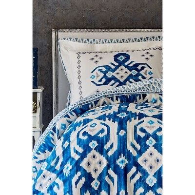Karaca Home Neos Blue Cotton Double Duvet Cover Set