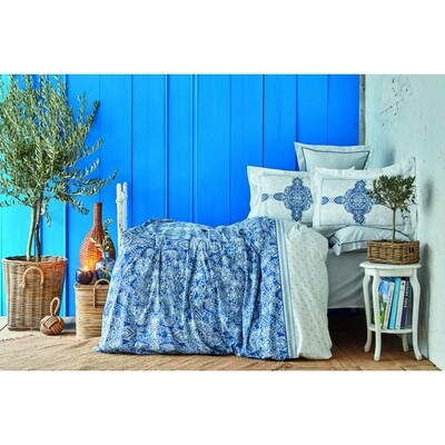 ​Karaca Home Perissa Blue Rnf Double 6 Piece Duvet Cover Set
