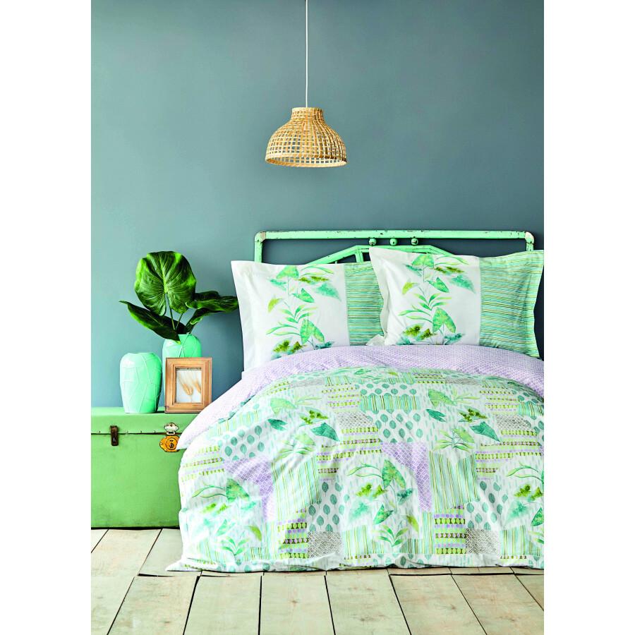 Karaca Home Camelia Green Cotton Double Duvet Cover Set