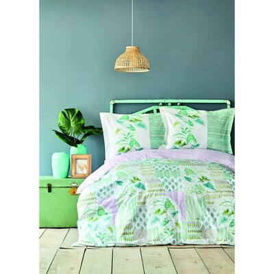​Karaca Home Camelia Green Cotton Double Duvet Cover Set