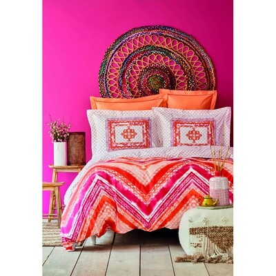 ​Karaca Home Juan Fuchsia Cotton Single 4 Piece Duvet Cover Set