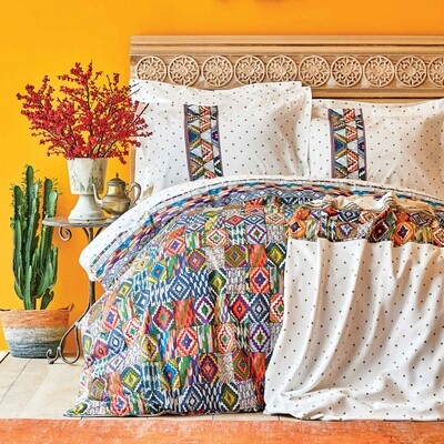 ​Karaca Home Moralı Orange Cotton Double Pique Gift Duvet Cover Set