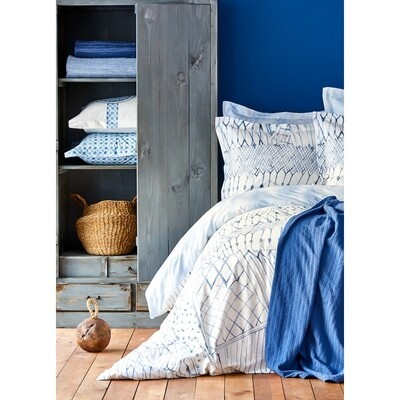 ​Sarah Anderson Lisle Blue Cotton Satin Double Duvet Cover & Pillow Set