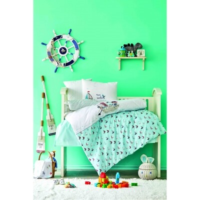 ​Karaca Home Rover Blue Cotton Baby Duvet Cover Set