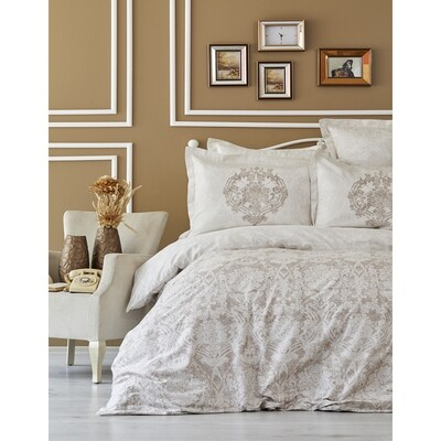 ​Sarah Anderson Carola Beige Cotton Satin Double Duvet Cover & Pillowcase Set