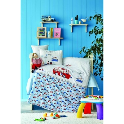 ​Karaca Home School Bus Blue Cotton Baby Duvet Cover Set