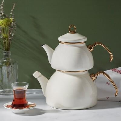 Karaca Retro Enamel Cream Tea pot  CAYDANLIK