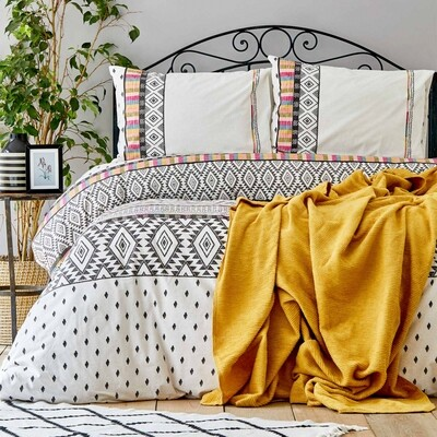​Sarah Anderson Ebony Twill Blanket Duvet Cover Set