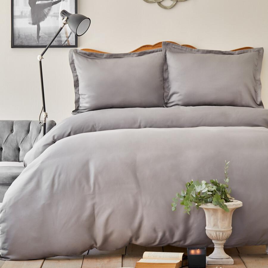 Sarah Anderson Willow Light Gray Cotton Satin Double Duvet Cover & Pillowcase Set