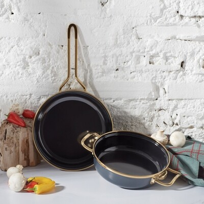 Karaca Retro Enamel Anthracite Frying Pan Set