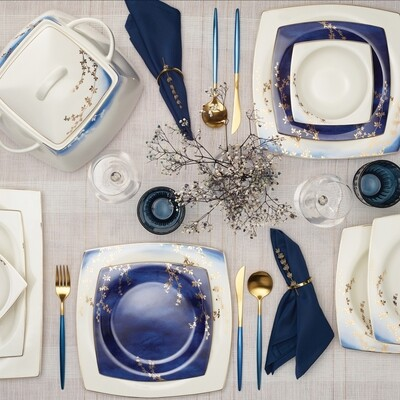 Karaca Fine Bone Blue Blush 60 Pieces Dinner Set for 12 People Square  DINNERWARE