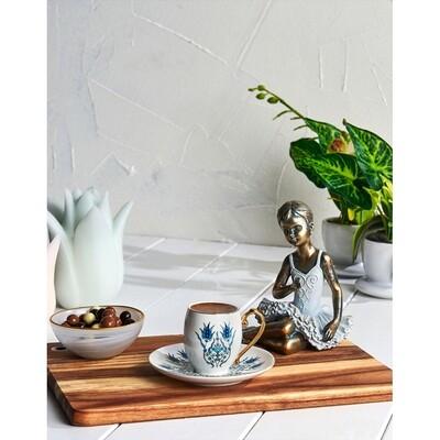 KARACA IZNIK 6 PERSON TURKISH COFFEE SET