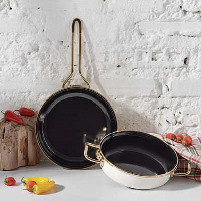Karaca Retro Enamel Cream Frying Pan Sahan Set