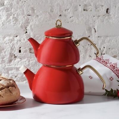 Karaca Retro Enamel Red Tea pot CAYDANLIK