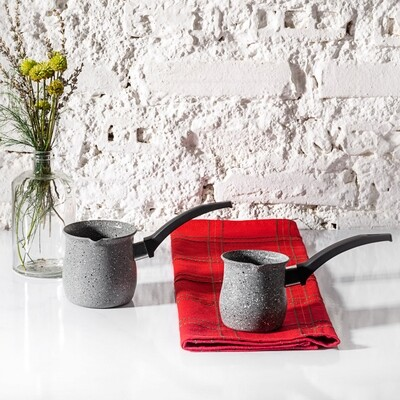 ​Karaca Bio Granite Dark Silver Turkish Coffee Pot Set CEZVE SET