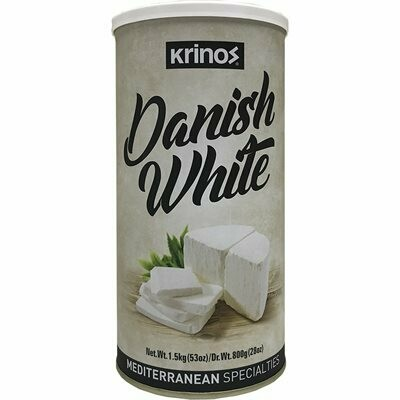 KRINOS Danish White Cheese - NEW! 800g tin - Mediterranean Style