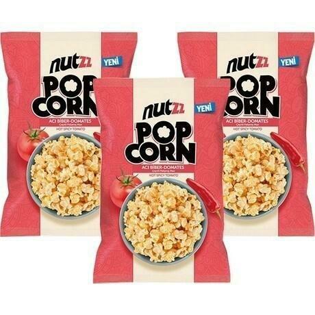 NUTZZ POPCORN HOT SPICY TOMATO FLAVOURED CORN/ACI BIBER DOMATES  HALAL 45GR