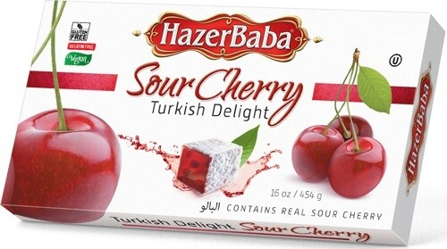 HAZERBABA SOURCHERRY TURKISH DELIGHT 454GR