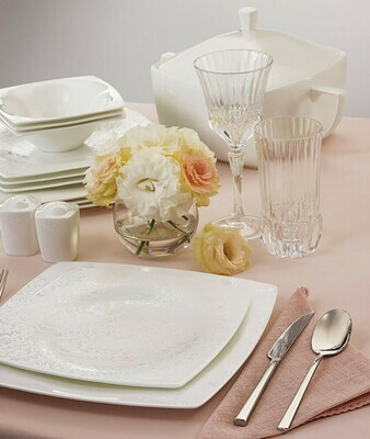 KARACA FINE PEARL HELEN 62 PIECES DINNERWARE  SQUARE