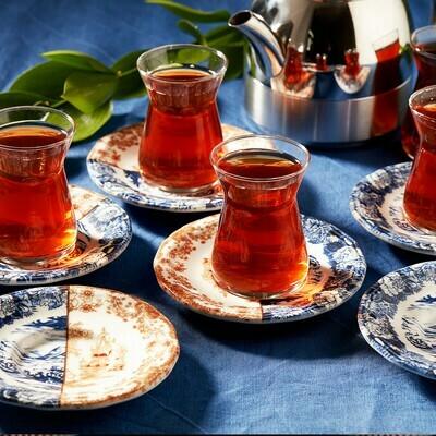 KARACA BLUE COFFEE 12 PIECES TEA SET