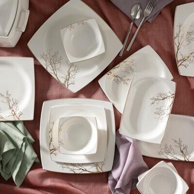 KARACA AUTUMN CREAM 60 PIECES DINNER SET SQUARE