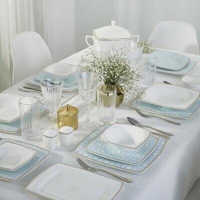 KARACA FINE PEARL CONTOUR 62 PIECES DINNER SET SQUARE