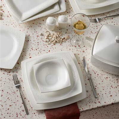 KARACA FINE PEARL ROMA 62 PIECES DINNER SET SQUARE
