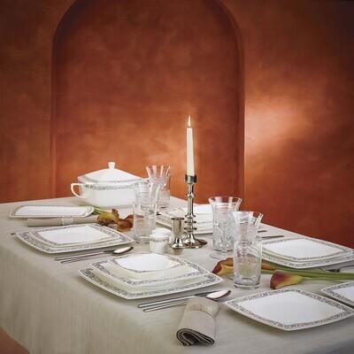 KARACA FINE PEARL TROVE 62 PIECES DINNER SET SQUARE
