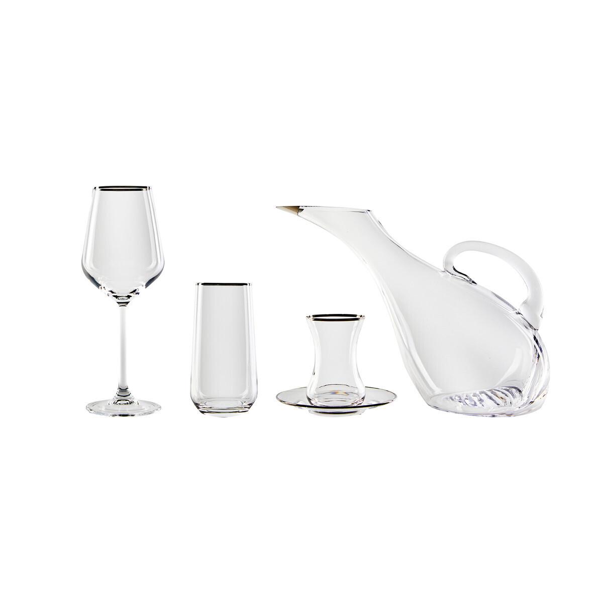 KARACA IRENE PLATIN RIM 49 PIECES GLASS SET