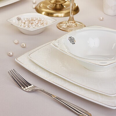 KARACA FINE PEARL HAILEY 62 PIECES DINNER SET SQUARE