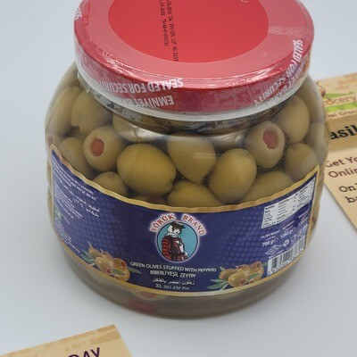 Yoruk Brand Green Olives Stuffed with Red Peppers - Seedless XL 700gr