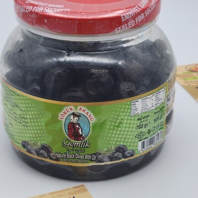 Yoruk Brand Gemlik Black Olives  wit oil XL-L 700gr Siyah Gemlik Zeytin