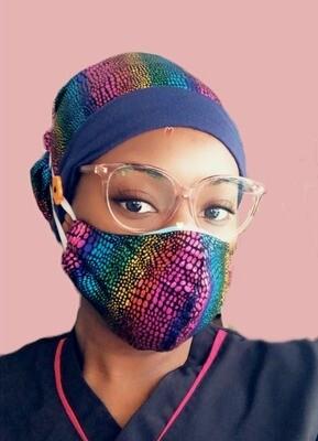 Surgical Cap / Medical Scrub Cap / Female Scrub Cap  W/ Mask