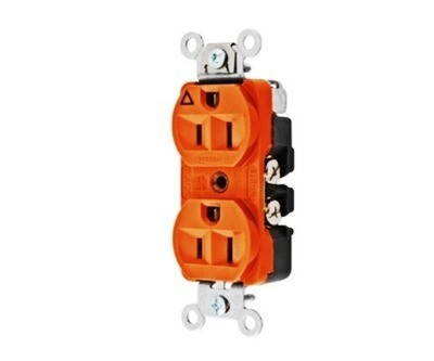 CR5252IG Receptacle duplex insolate ground 2P3W 15A 125V (5-15R) orange Hubbell