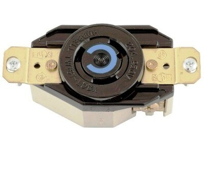 HBL2320 Receptacle twist-lock single 2P3W 20A 250V (L6-20R)(770-0025A) black Hubbell