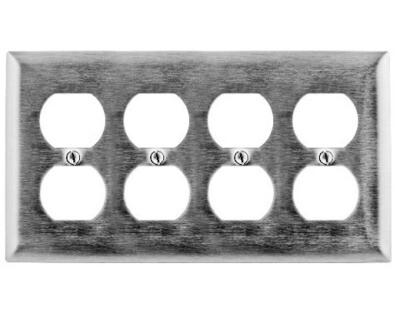 SS84 Faceplate 1 gang 4 duplex S/S 302/304 Hubbell