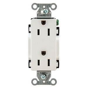 DR15WHI Receptacle straight blade decorator 2P3W 15A 125V (5-15R) white Hubbell