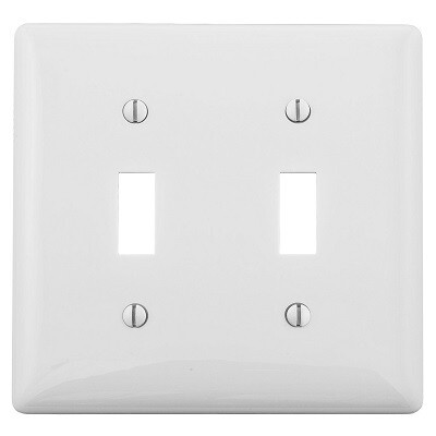 NP2W Faceplate 2 gang for Toggle Switch nylon white Hubbell