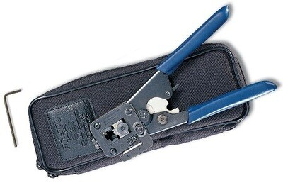 PT-908 Tool crimp with built-in round cable cutter/stripper, 8-position die set and padded nylon carrying case Siemon