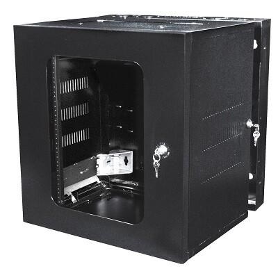 "HSQ24 Cabinet wall mount 12U 22.62""W x 20""D x 24""H door window QUADCAB black Hubbell"