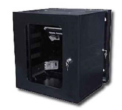 """HW24 Cabinet wall mount 12U 24""""H door window QUADCAB black Hubbell"""