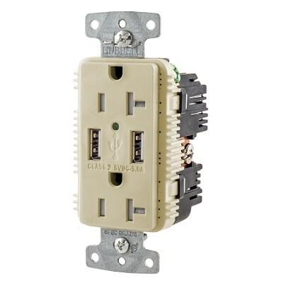 USB20A5I Receptacle straight blade USB 2P/3W 20A 125V (5-20R) (High power 5A 5V USB output) ivory Hubbell