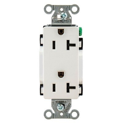 DR20WHI Receptacle straight blade 2P3W 20A 125V (5-20R) duplex decorator white Hubbell
