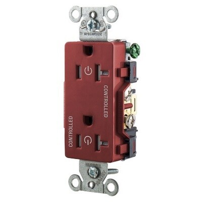 DR20C2RTR Receptacle straight blade 2P3W 20A 125V (5-20R) duplex decorator red Hubbell